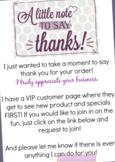 Nota de agradecimiento para los clientes Hikes Business